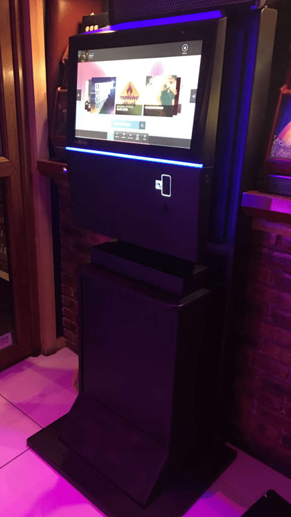 Playdium digital jukebox that has been hired in Bolton
